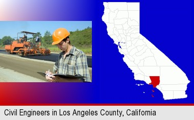 a civil engineer inspecting a road building project; Los Angeles County highlighted in red on a map