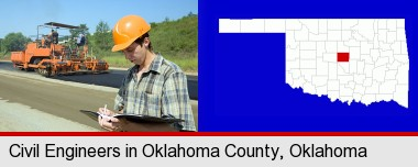 a civil engineer inspecting a road building project; Oklahoma County highlighted in red on a map