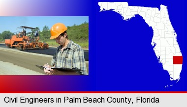 a civil engineer inspecting a road building project; Palm Beach County highlighted in red on a map