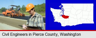 a civil engineer inspecting a road building project; Pierce County highlighted in red on a map