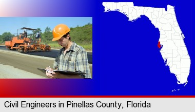 a civil engineer inspecting a road building project; Pinellas County highlighted in red on a map
