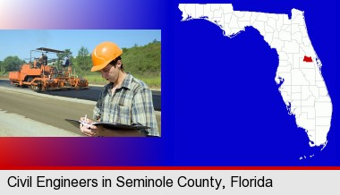 a civil engineer inspecting a road building project; Seminole County highlighted in red on a map