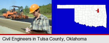 a civil engineer inspecting a road building project; Tulsa County highlighted in red on a map