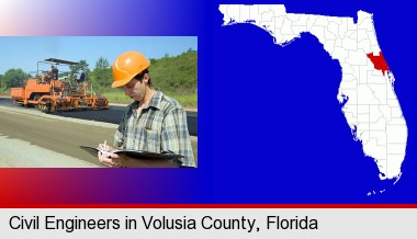 a civil engineer inspecting a road building project; Volusia County highlighted in red on a map